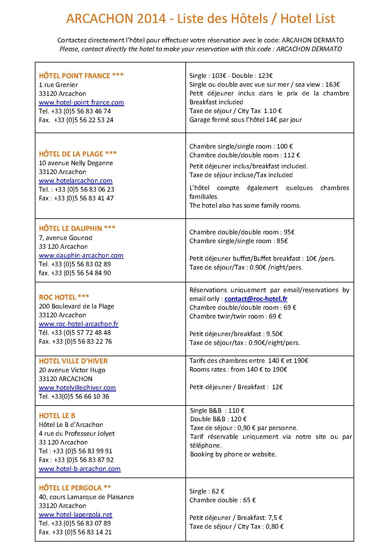 Arcachon 2014 informations pratiques for Hotel tarif reduit
